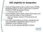 osc eligibility for designation