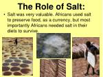 the role of salt