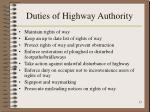 duties of highway authority