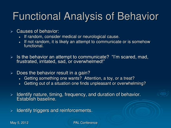 Functional Analysis of Behavior