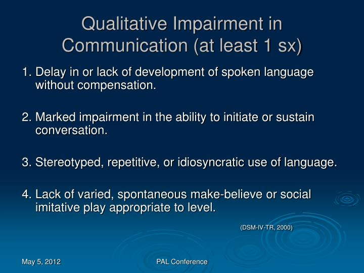 Qualitative Impairment in Communication (at least 1 sx)
