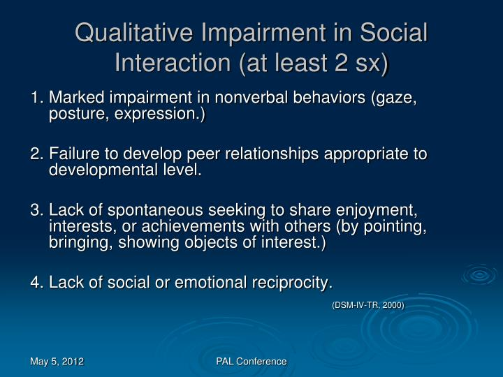 Qualitative Impairment in Social Interaction (at least 2 sx)