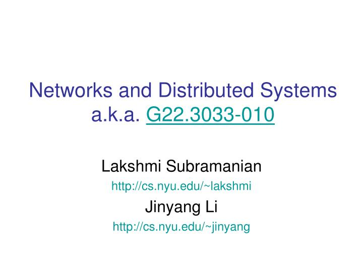 networks and distributed systems a k a g22 3033 010 n.
