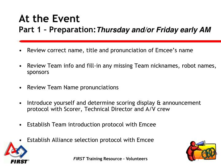 Review correct name, title and pronunciation of Emcee's name