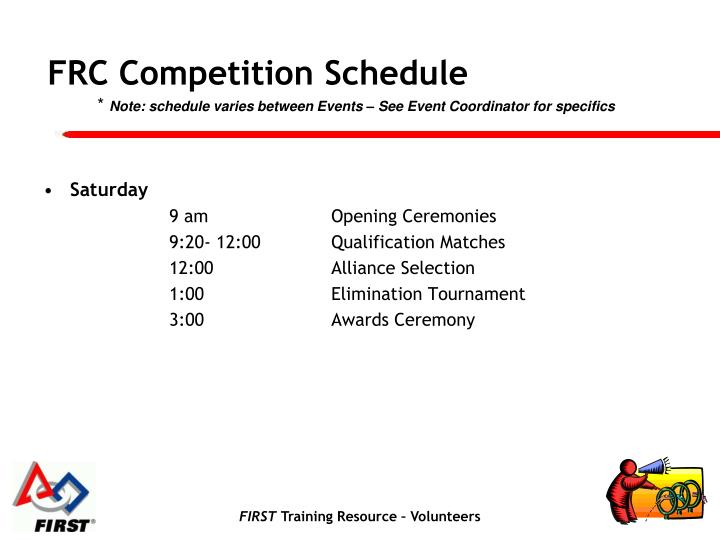 FRC Competition Schedule