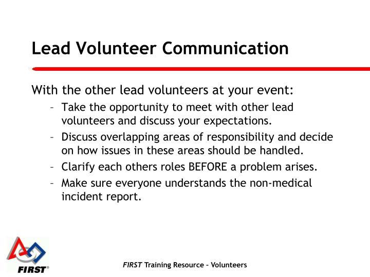 Lead Volunteer Communication