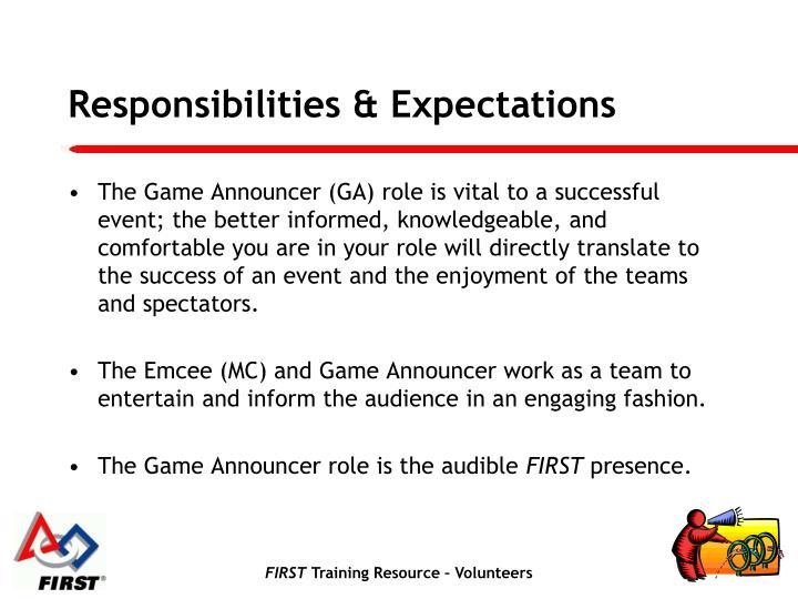 Responsibilities expectations