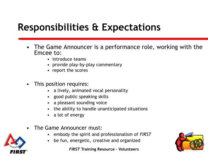 Responsibilities & Expectations