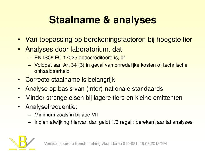 Staalname & analyses