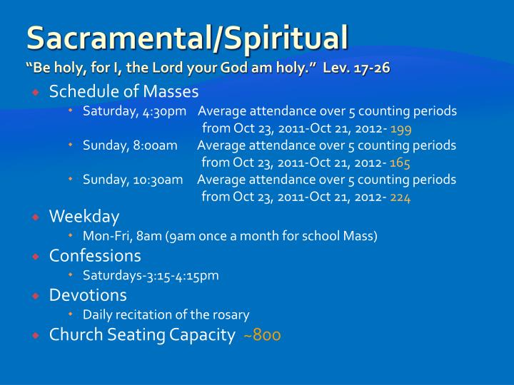 Sacramental spiritual be holy for i the lord your god am holy lev 17 26