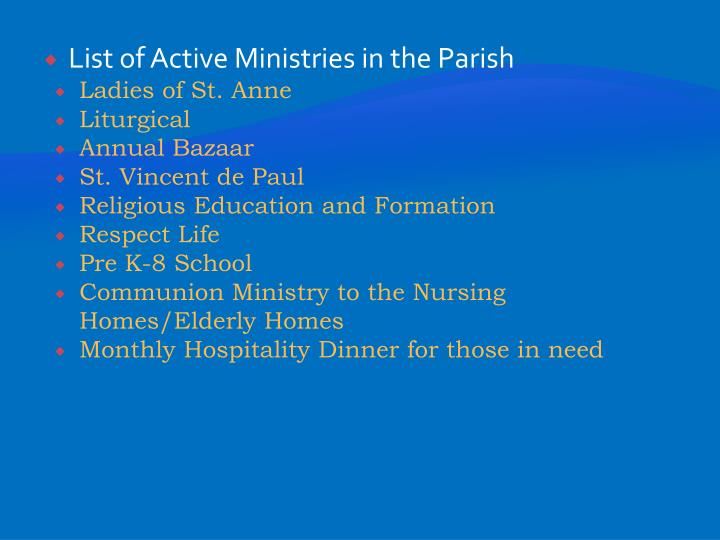 List of Active Ministries in the Parish