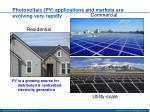 photovoltaic pv applications and markets are evolving very rapidly
