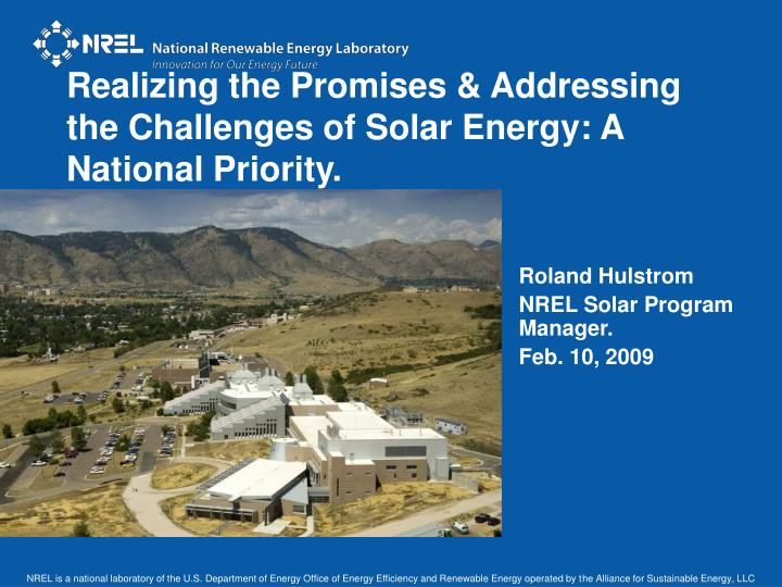 realizing the promises addressing the challenges of solar energy a national priority n.