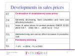 developments in sales prices