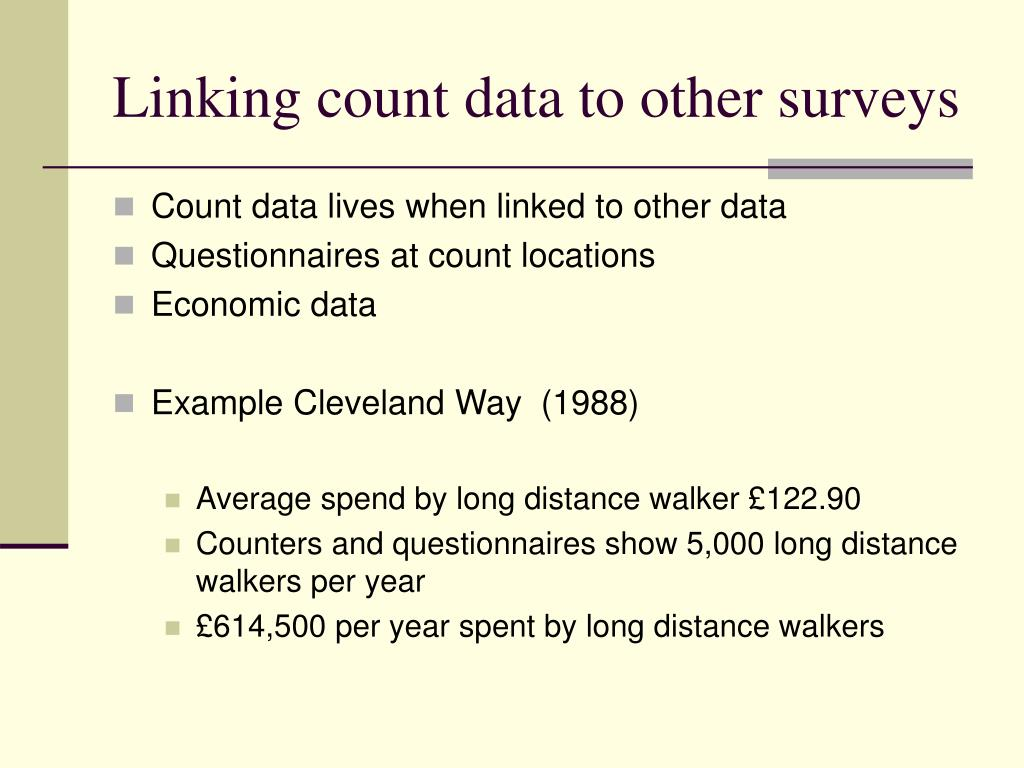Linking count data to other surveys