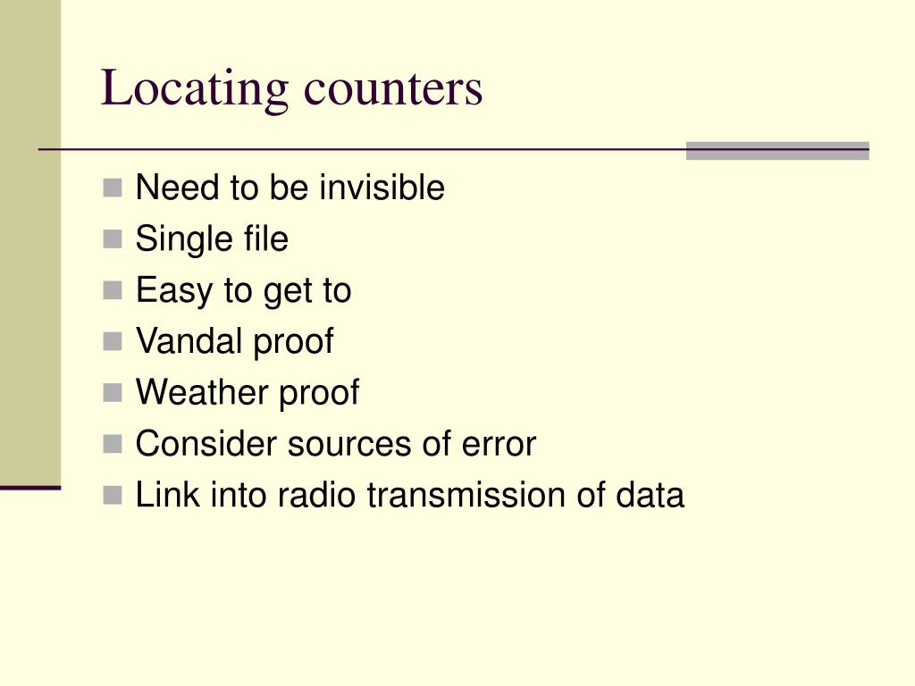 Locating counters