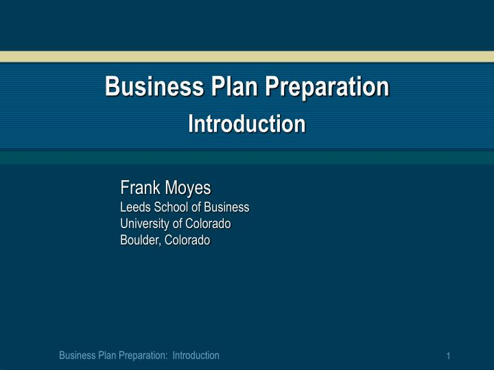 business plan preparation introduction n.