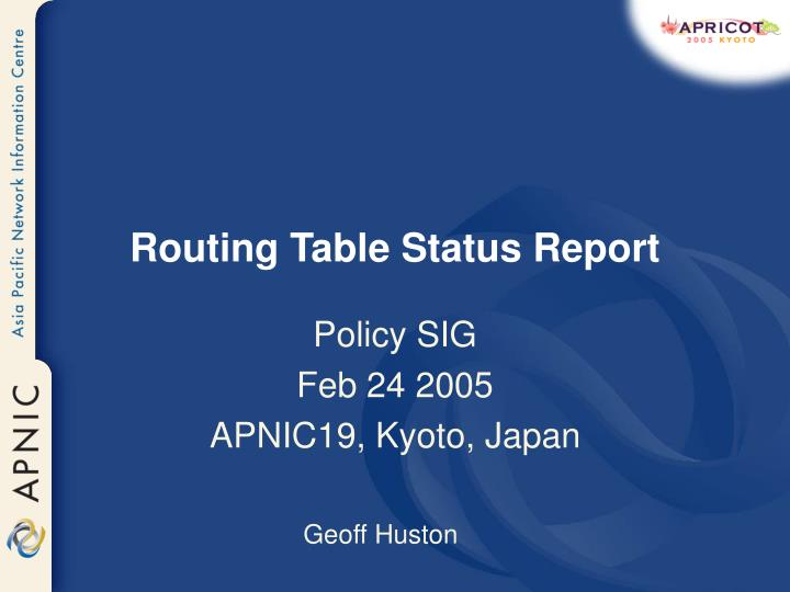 routing table status report n.