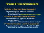 finalized recommendations