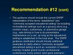 recommendation 12 cont