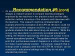 recommendation 9 cont