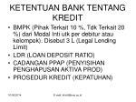 ketentuan bank tentang kredit