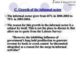 c growth of the informal sector