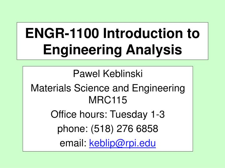 engr 1100 introduction to engineering analysis n.