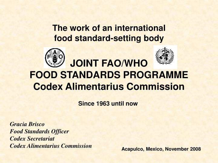 joint fao who food standards programme c odex alimentarius commission n.