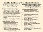 need for guidance on food control systems