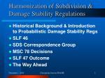 harmonization of subdivision damage stability regulations