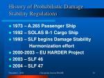 history of probabilistic damage stability regulations