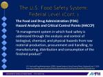 the u s food safety system federal level cont