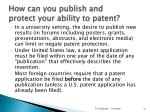 how can you publish and protect your ability to patent
