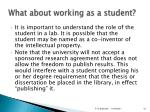 what about working as a student