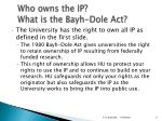 who owns the ip w hat is the bayh dole act