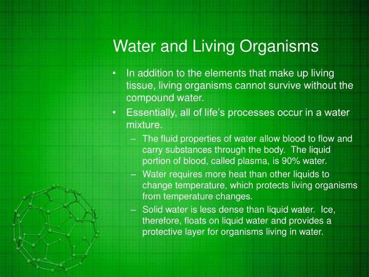 Water and Living Organisms