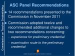 asc panel recommendations