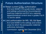 future authorization structure