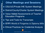 other meetings and sessions