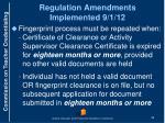 regulation amendments implemented 9 1 12