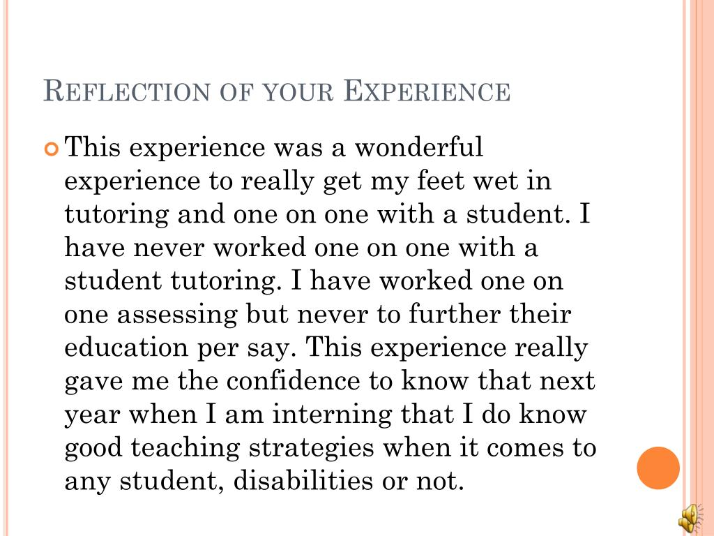 Reflection of your Experience
