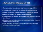 refund of tax withheld u s 1951