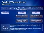 royalty fts as per the act section 9 1
