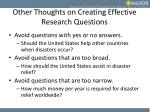 other thoughts on creating effective research questions