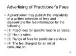 advertising of practitioner s fees