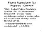federal regulation of tax preparers overview