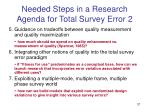 needed steps in a research agenda for total survey error 2