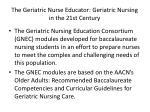 the geriatric nurse educator geriatric nursing in the 21st century1