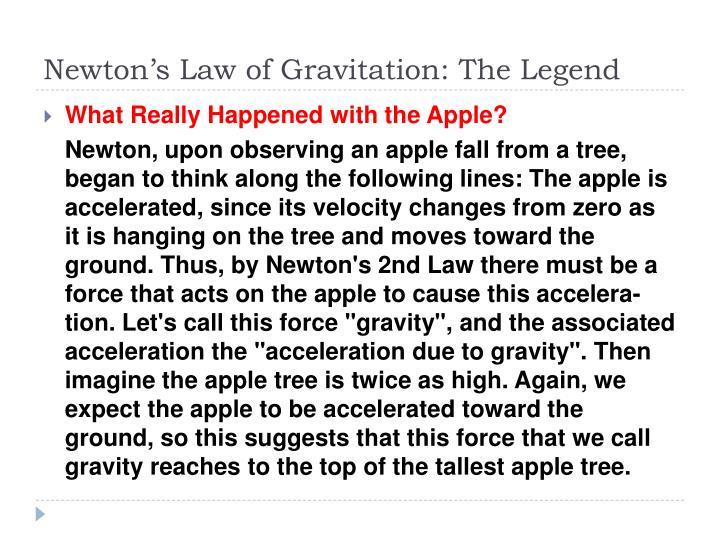 Newton's Law of Gravitation: The Legend